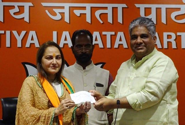 BJP leader Bupender Yadav welcomes Actress and politician Jaya Prada