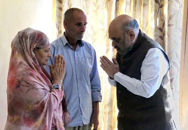HOme Minister Amit Shah Meets family of Cop martyred in Anantnag encounter