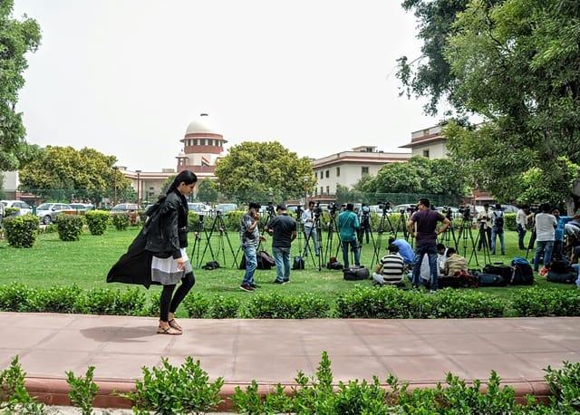 News Channels Crew Wait Outside Supreme Court Lawns