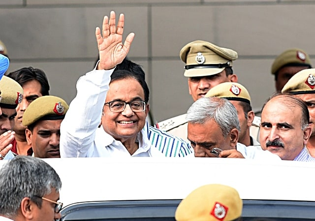 Chidambaram Comes Out of Court With CBI Officials
